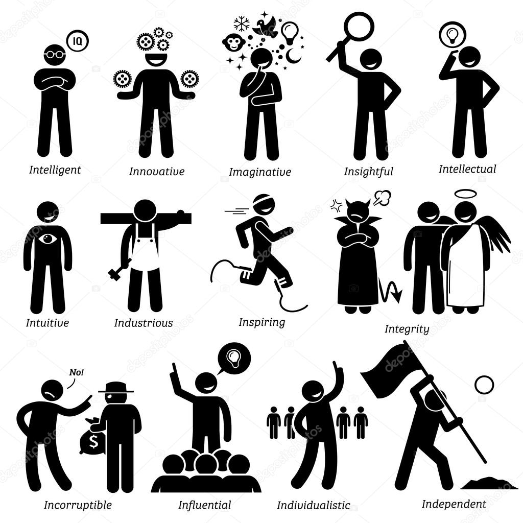Figures Person Working In Diagrams