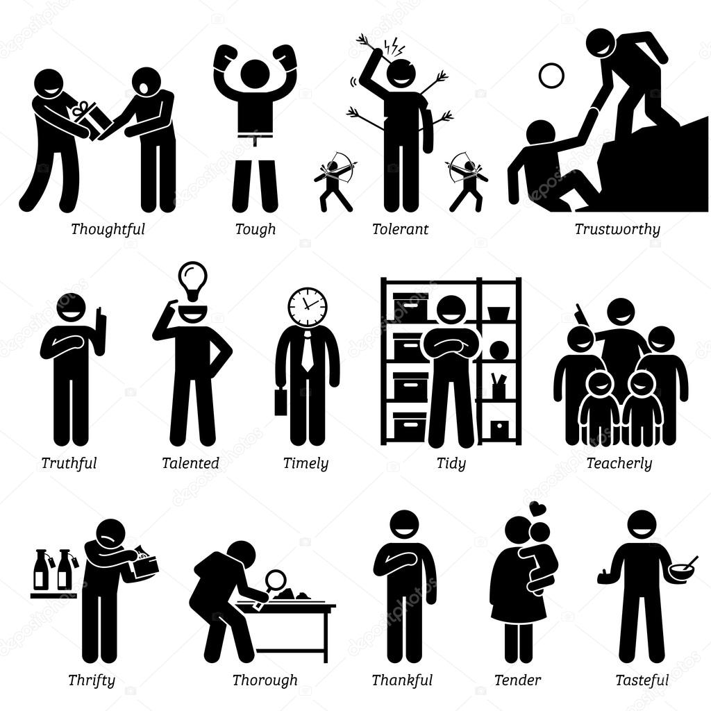 Positive Personalities Character Traits Stick Figures Man