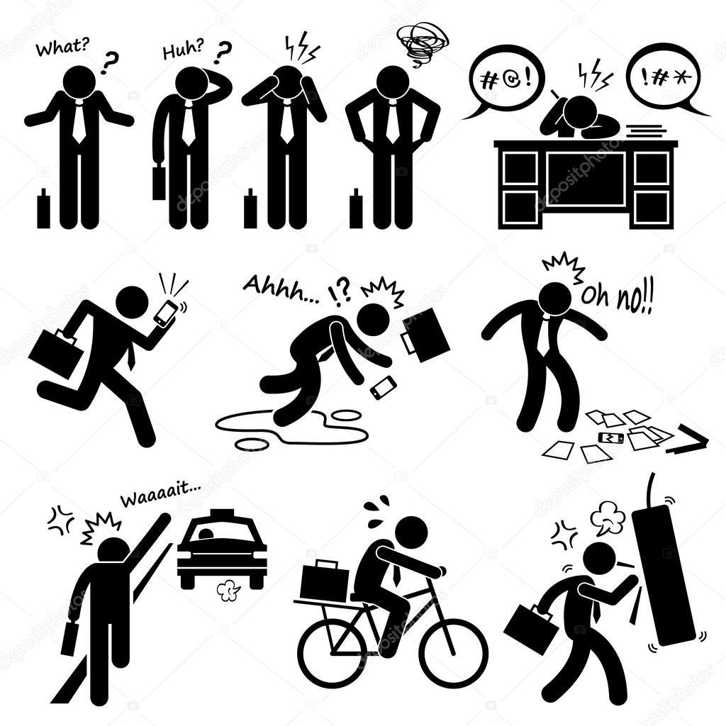 Fail Businessman Emotion Feeling Action Stick Figure