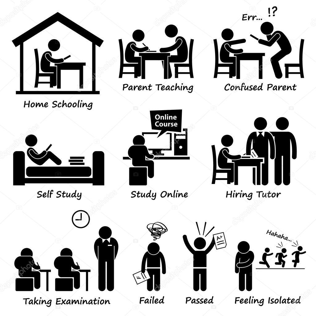 Homeschooling Home Schule Bildung Strichmännchen