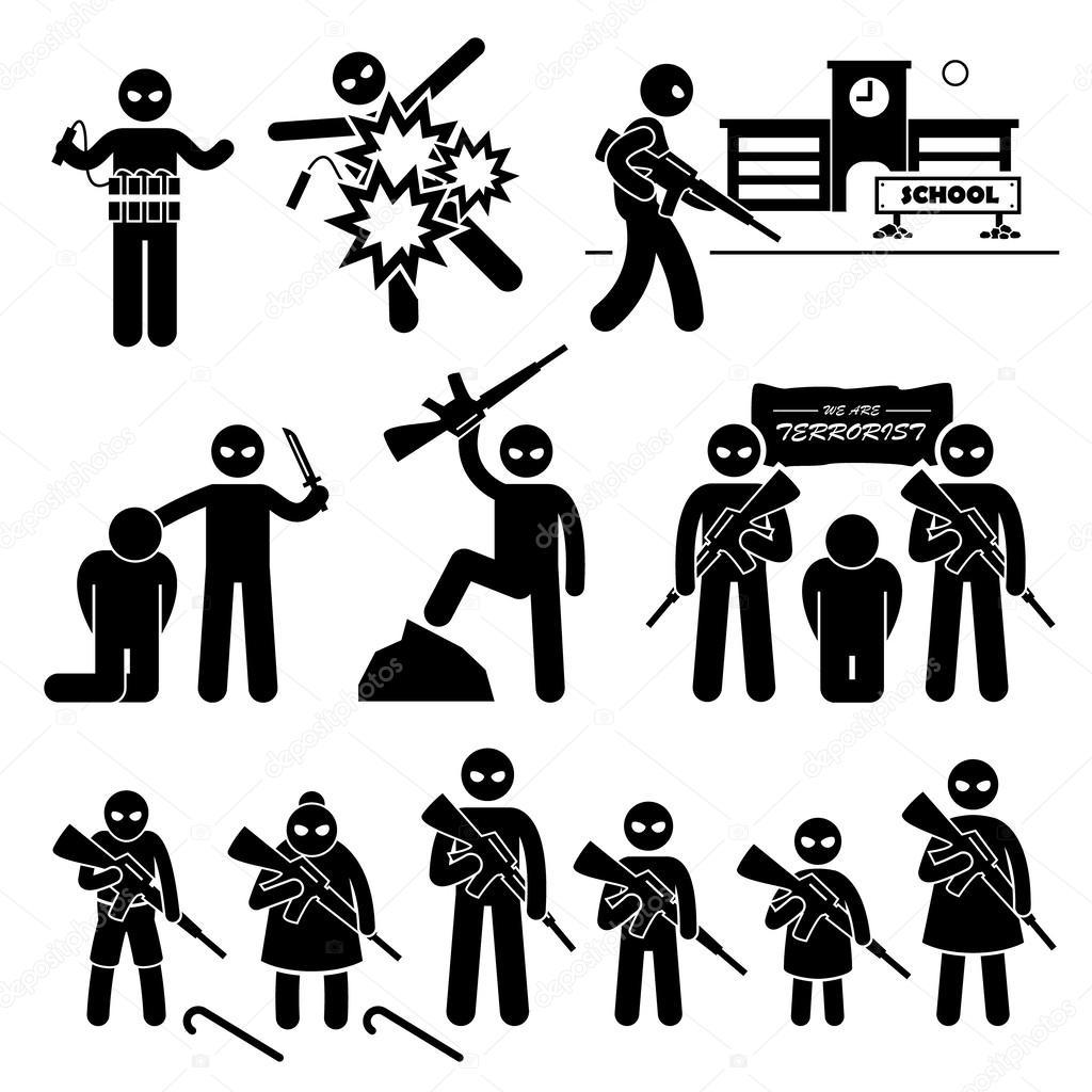 Le Terrorismee Suicideer Stick Figure Pictogramme Icones