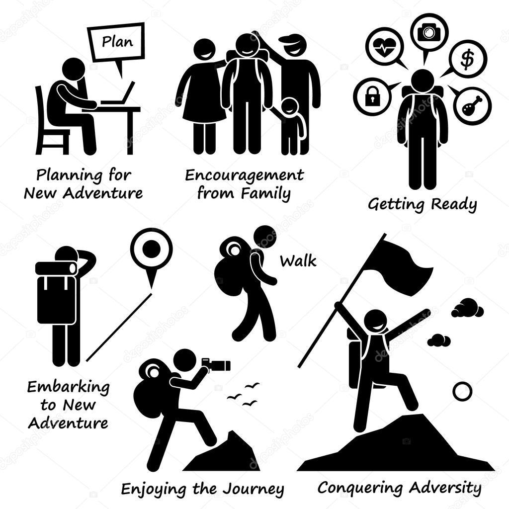 Nova aventura e conquista adversidade Stick figura