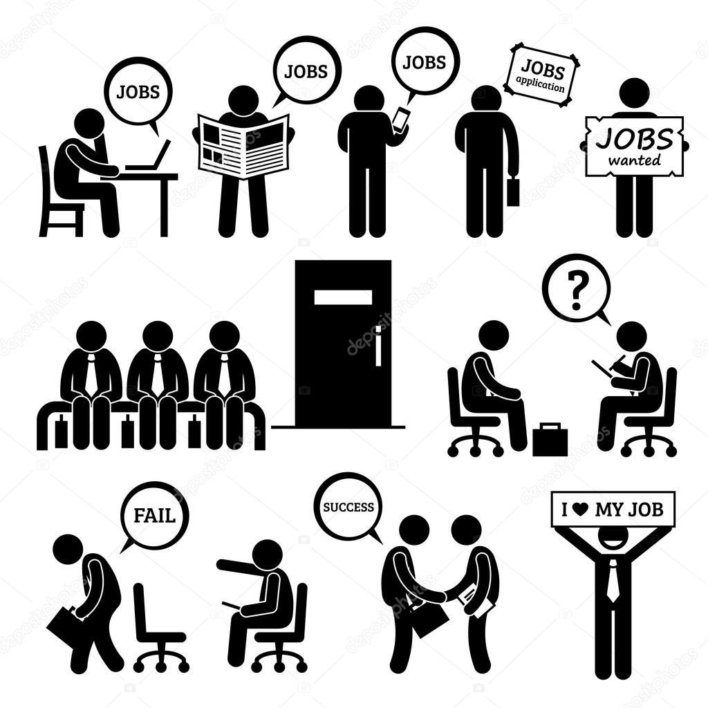 Mann sucht Job Beschäftigung und Interview Strichmännchen