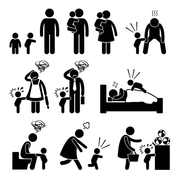 Nanny Mother Father Baby Child Care Stick Figure Pictogram