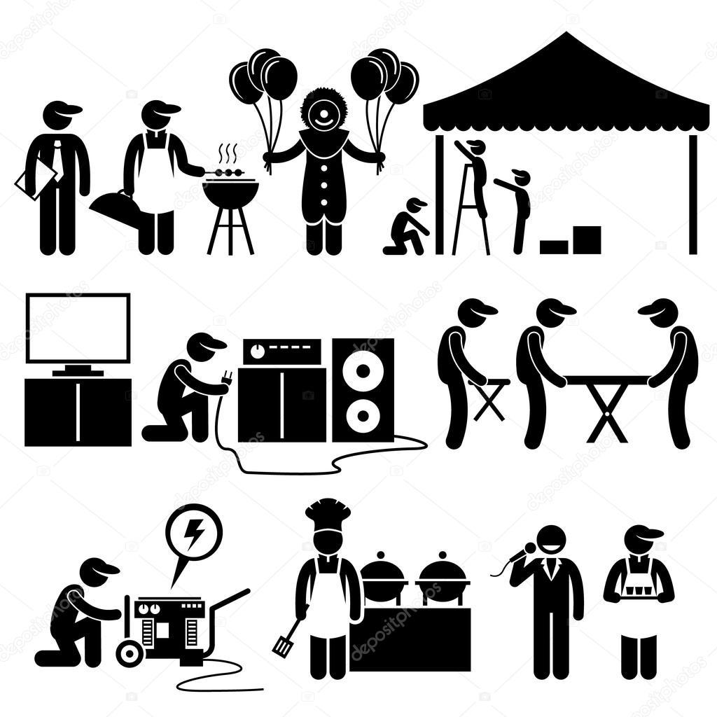 Feier Party Festival Dienstleistungen Strichmännchen