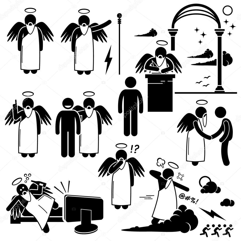 God Angel Heaven Paradise Stick Figure Pictogram Icons