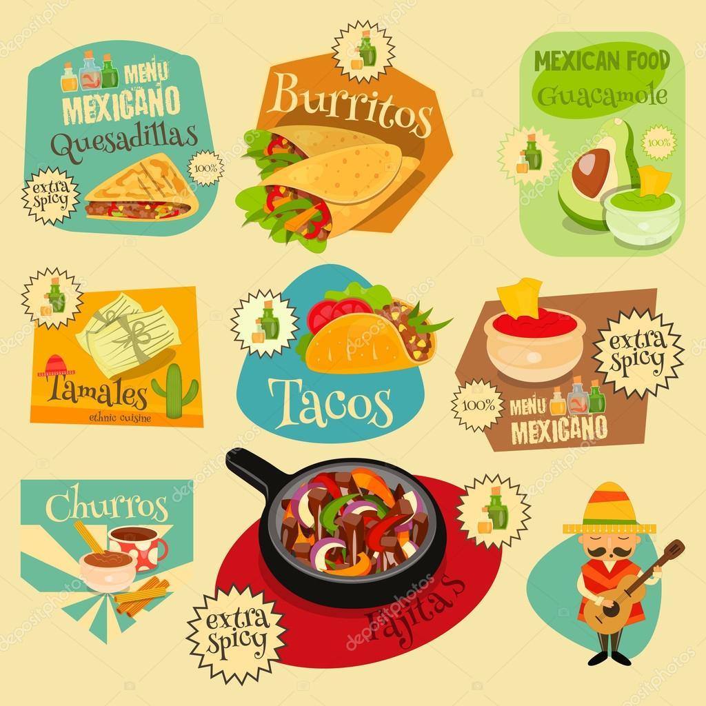 Conjunto de etiquetas de comida mexicana  Archivo Imgenes Vectoriales  elfivetrov 102240606