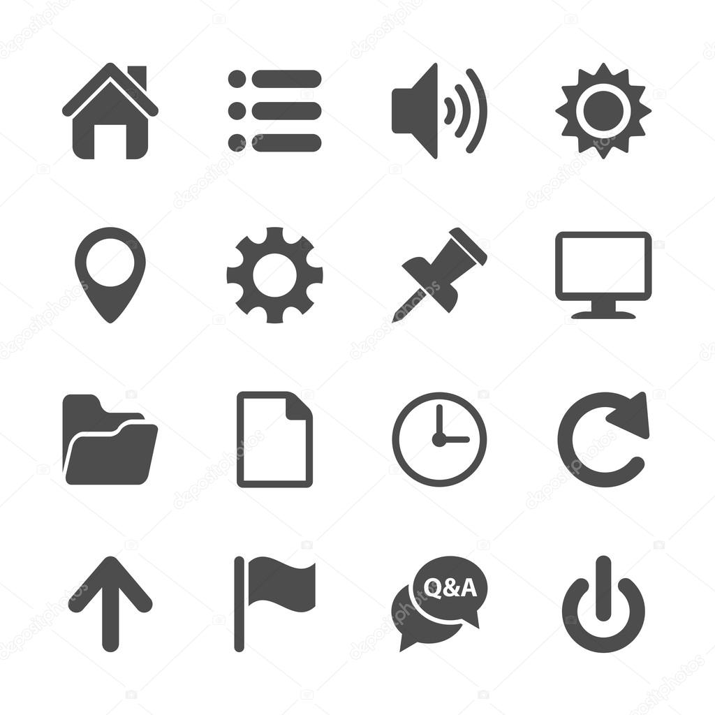 computer and website menu icon set, vector eps10 — Stock
