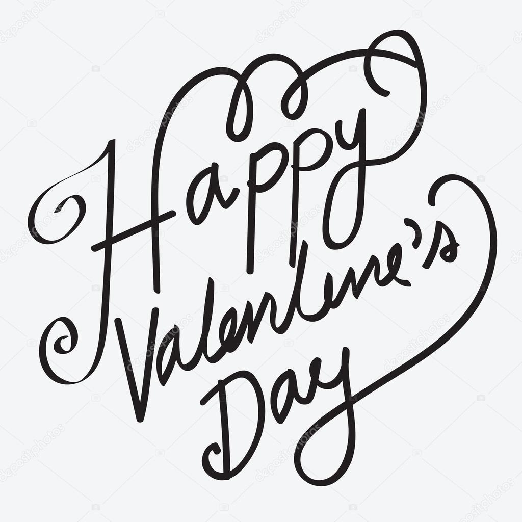 Happy Valentines Day Strony Napis R Cznie Kaligrafii