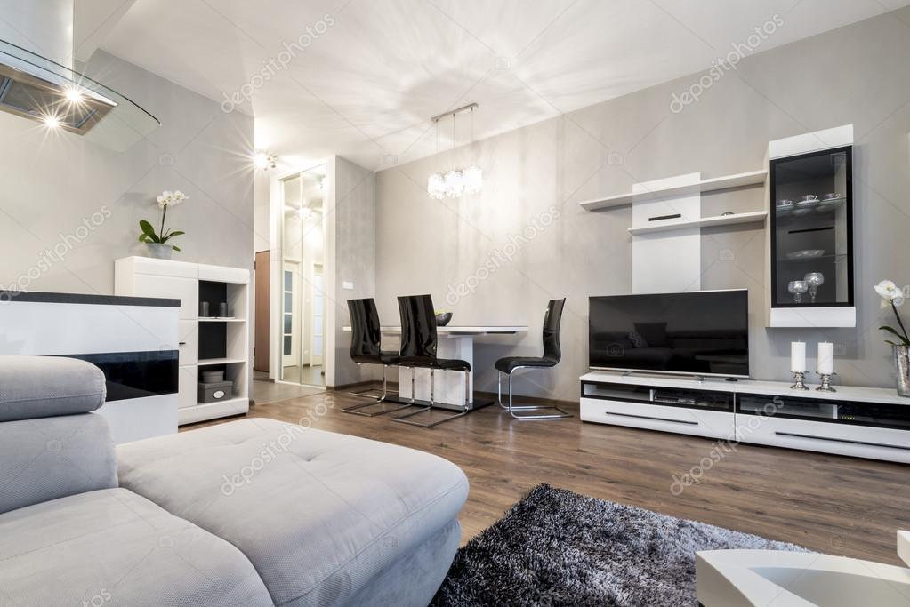 Moderne woonkamer in zwart en wit stijl  Stockfoto