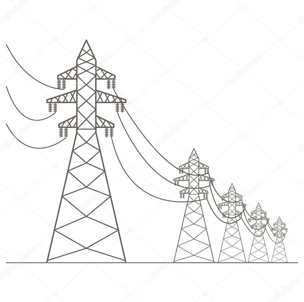 Pylône de ligne électrique haute tension. Icône appropriée