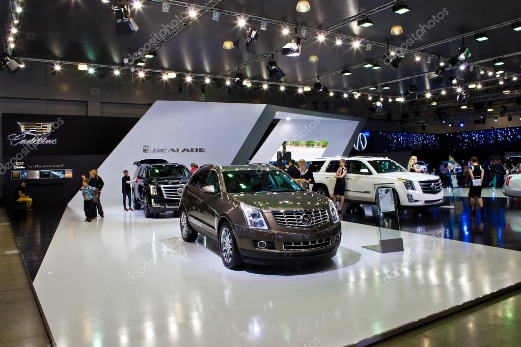 cadillac escalade stand at moscow motor show stock photo