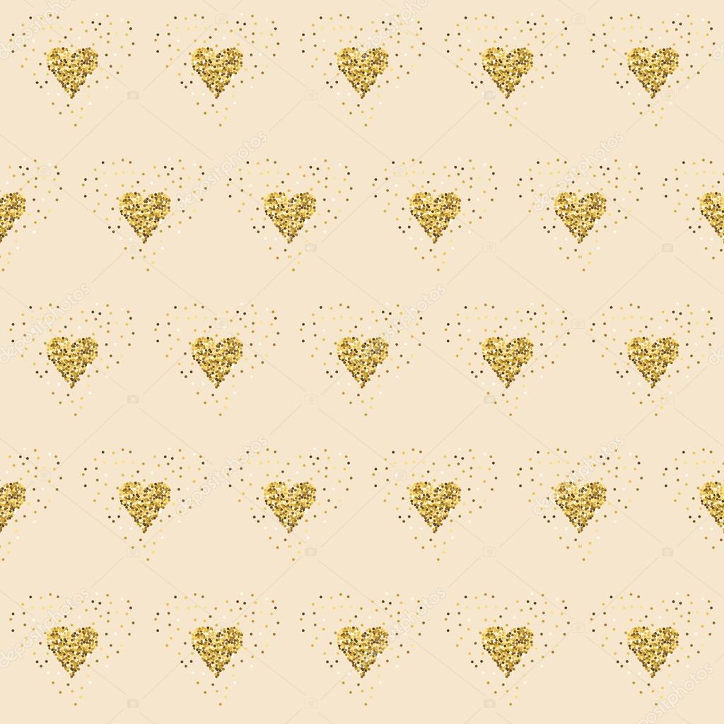 Golden Glitter Hearts On Pink Tiled Abstract Background