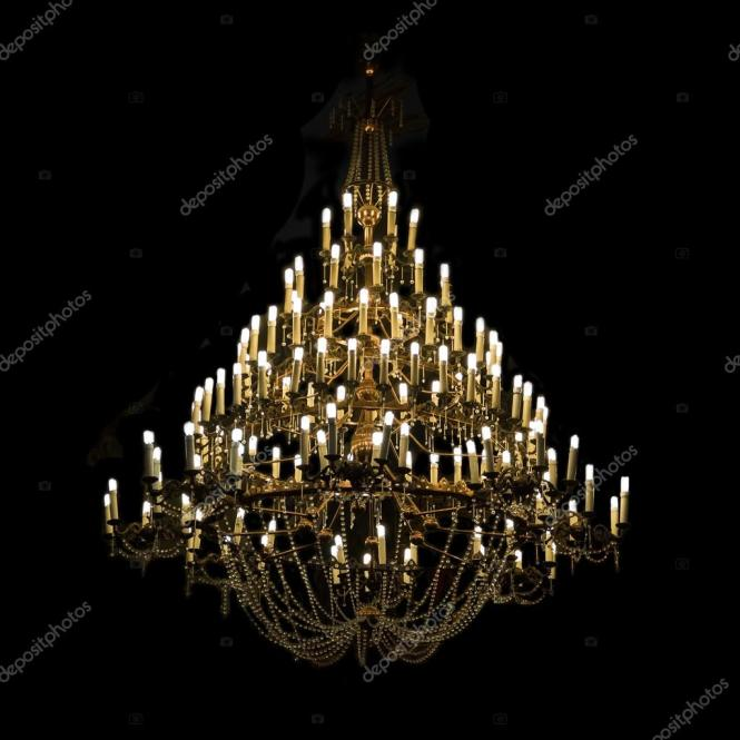 Giant Chandelier On Black Stock Photo