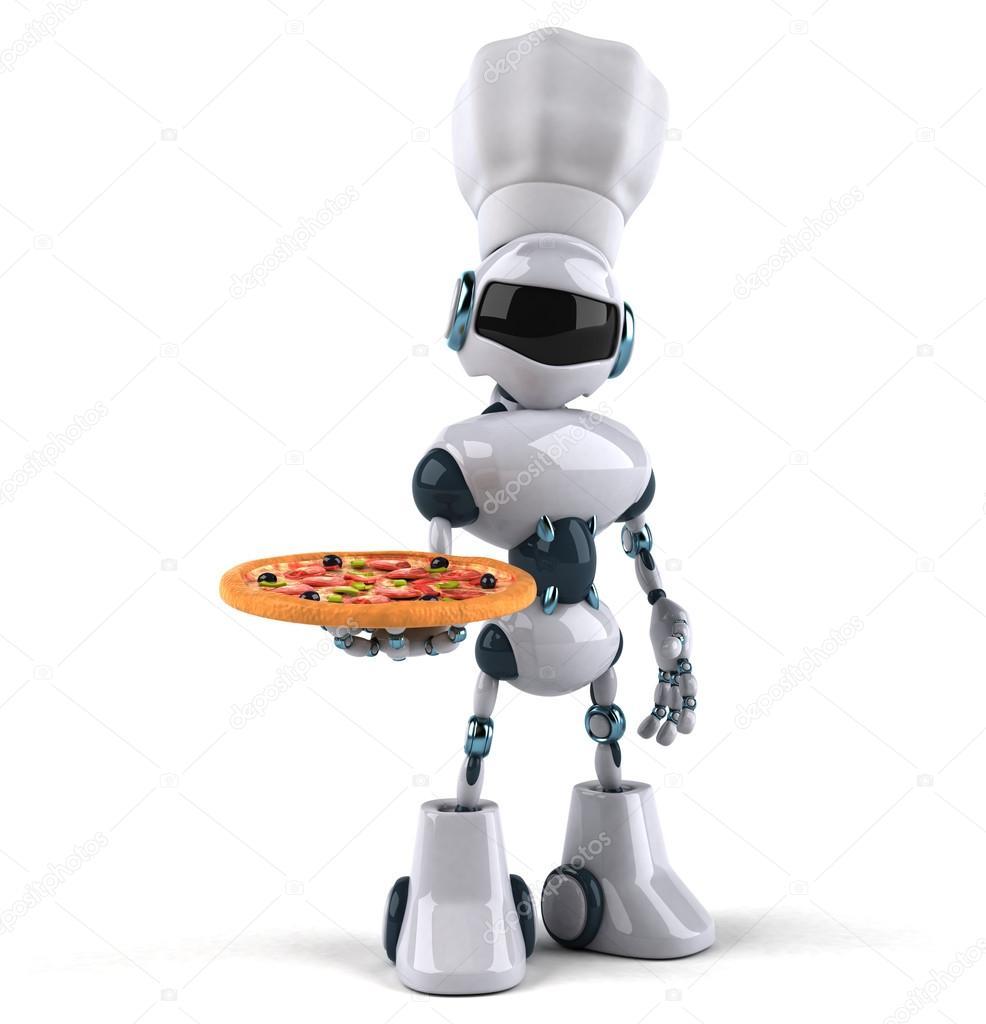 Robot chef cuisinier avec pizza  Photographie julos