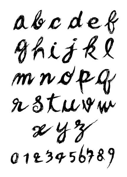Vector hand drawn cyrillic calligraphic Alphabet based on