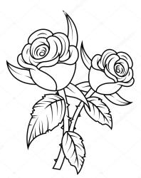 rose flower clipart drawing flowers line clip vector designs illustration clipartmag
