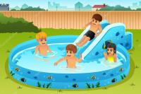Children Playing in Inflatable Pool  Stock Vector ...
