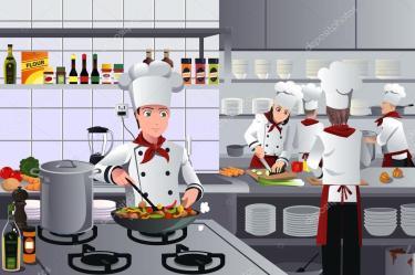 Clipart: kitchen staff Scene inside restaurant kitchen Stock Vector © artisticco #54261425