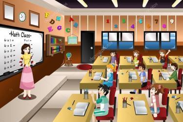 Teacher Teaching Math in Classroom Stock Vector © artisticco #79640074