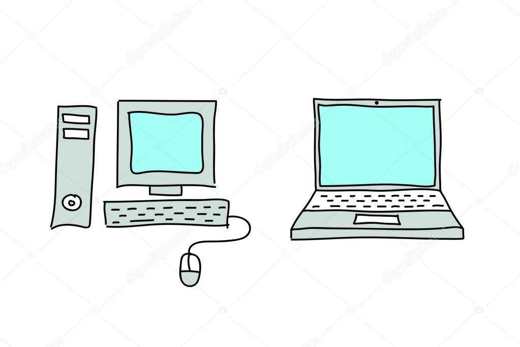 Imágenes: dibujo de computadora de escritorio   Laptop y computadora de escritorio de dibujos — Foto de stock © cherezoff #58277751