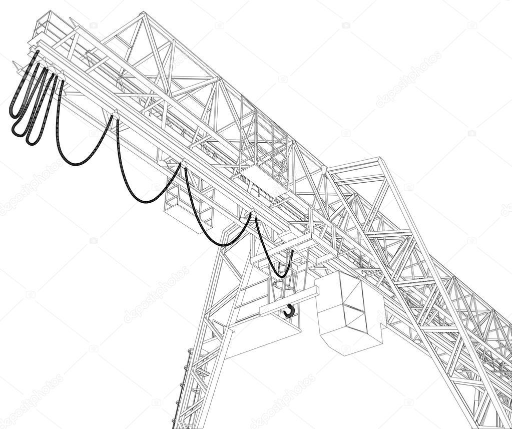 ガントリー クレーン。ワイヤー フレーム。3 d ベクター レンダリング — ストックベクター ©