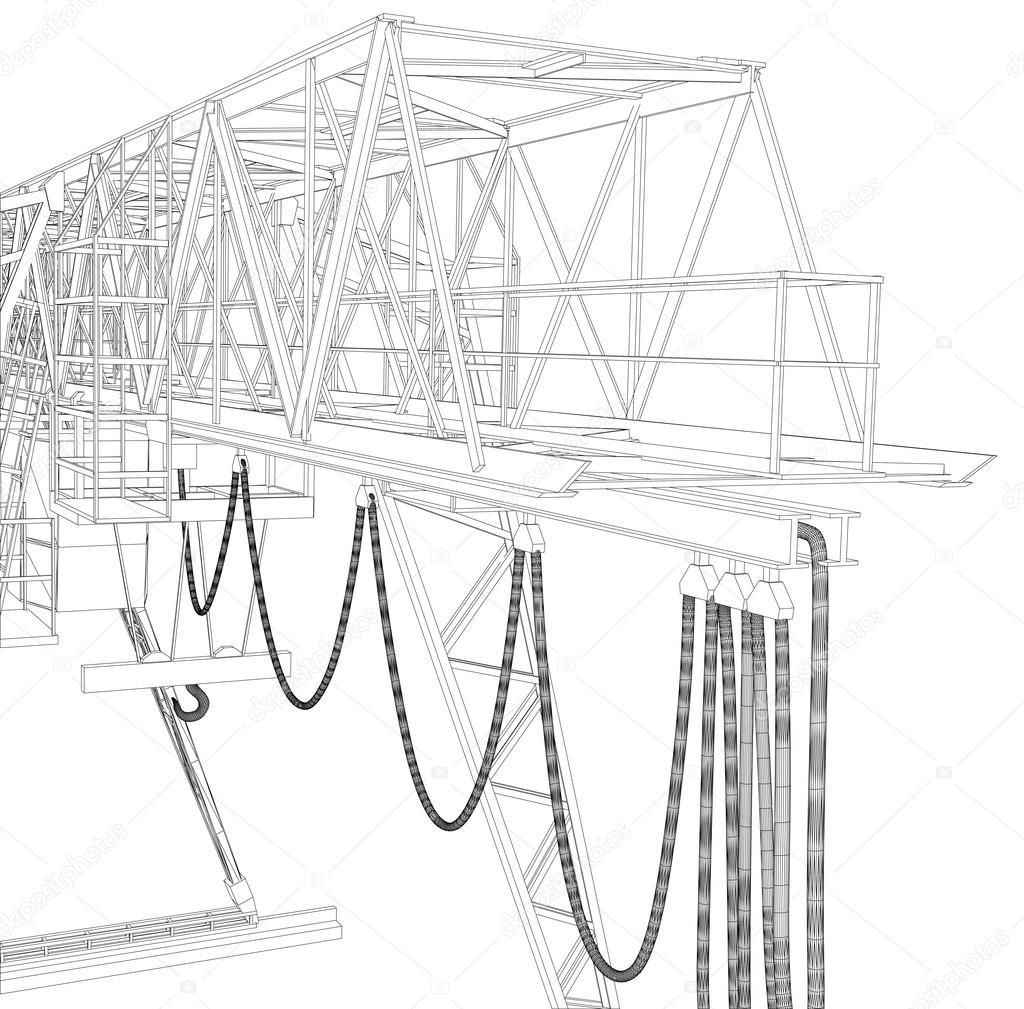 Suwnica bramowa. Ramkę. Wektor renderowania 3D — Grafika