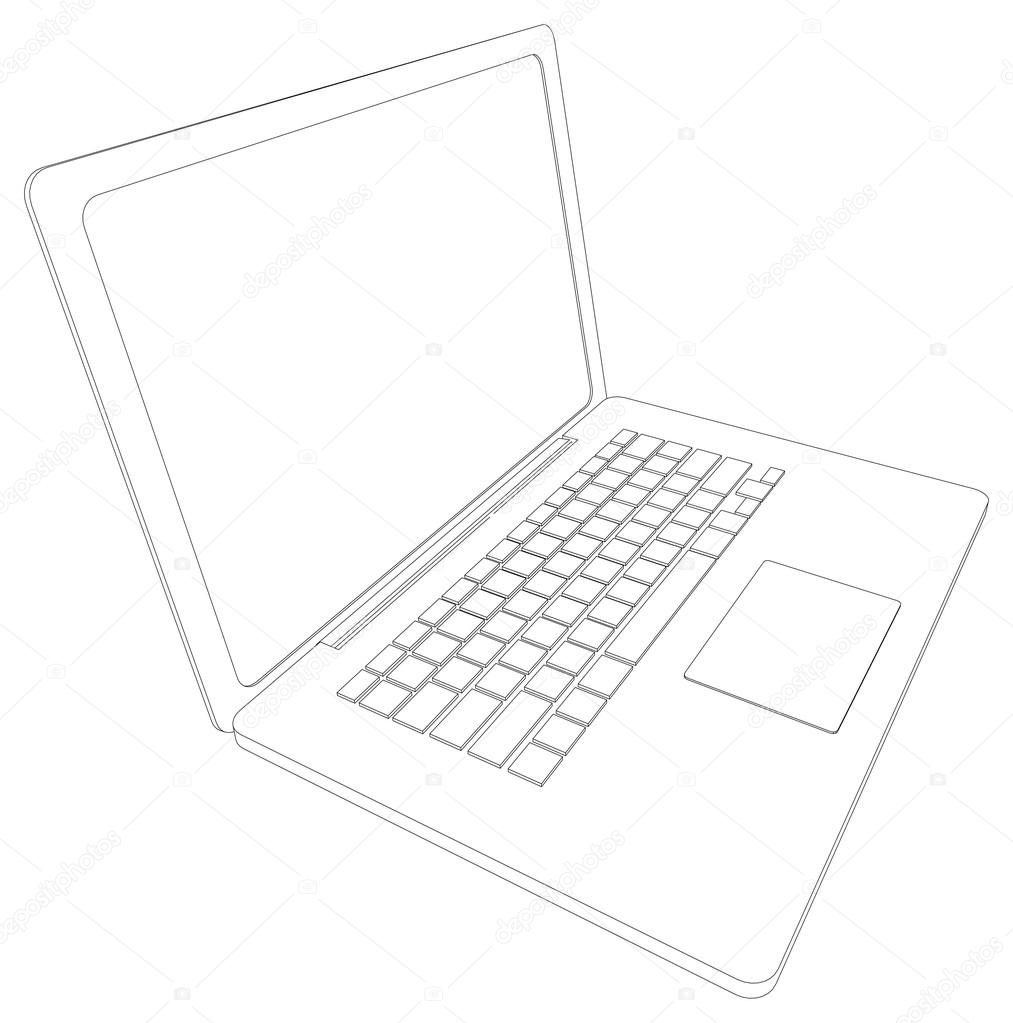 Drawing of wire-frame open laptop. Perspective view