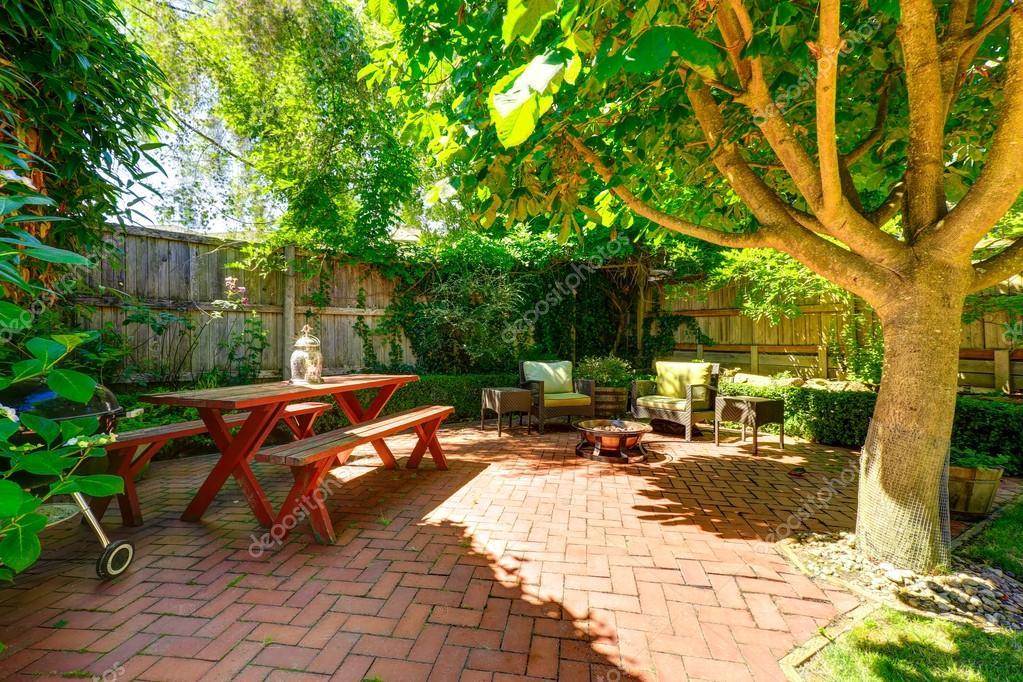 Cozy backyard patio area  Stock Photo  iriana88w #52822101