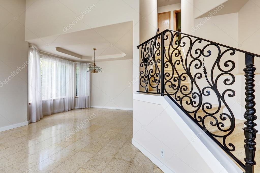 Emtpy House Interior Marble Staircase With Black Wrought Iron R | Wrought Iron Railing Interior | Building Iron | Stair | Gallery | Victorian | Outdoor