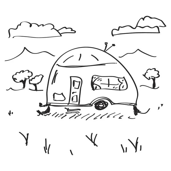 Hand drawn Doodle cars Recreational Vehicles Camper Vans