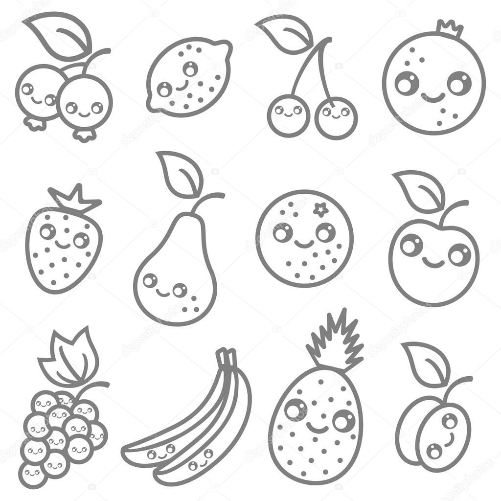 Owoce W Kawaii Styl