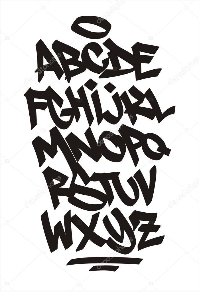 Vector graffiti font. Handwritten alphabet — Stock Vector
