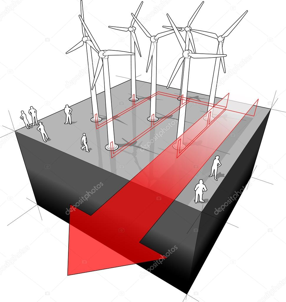 hight resolution of diagram of a wind turbines farm with electro wires and electro arrow vector by valigursky