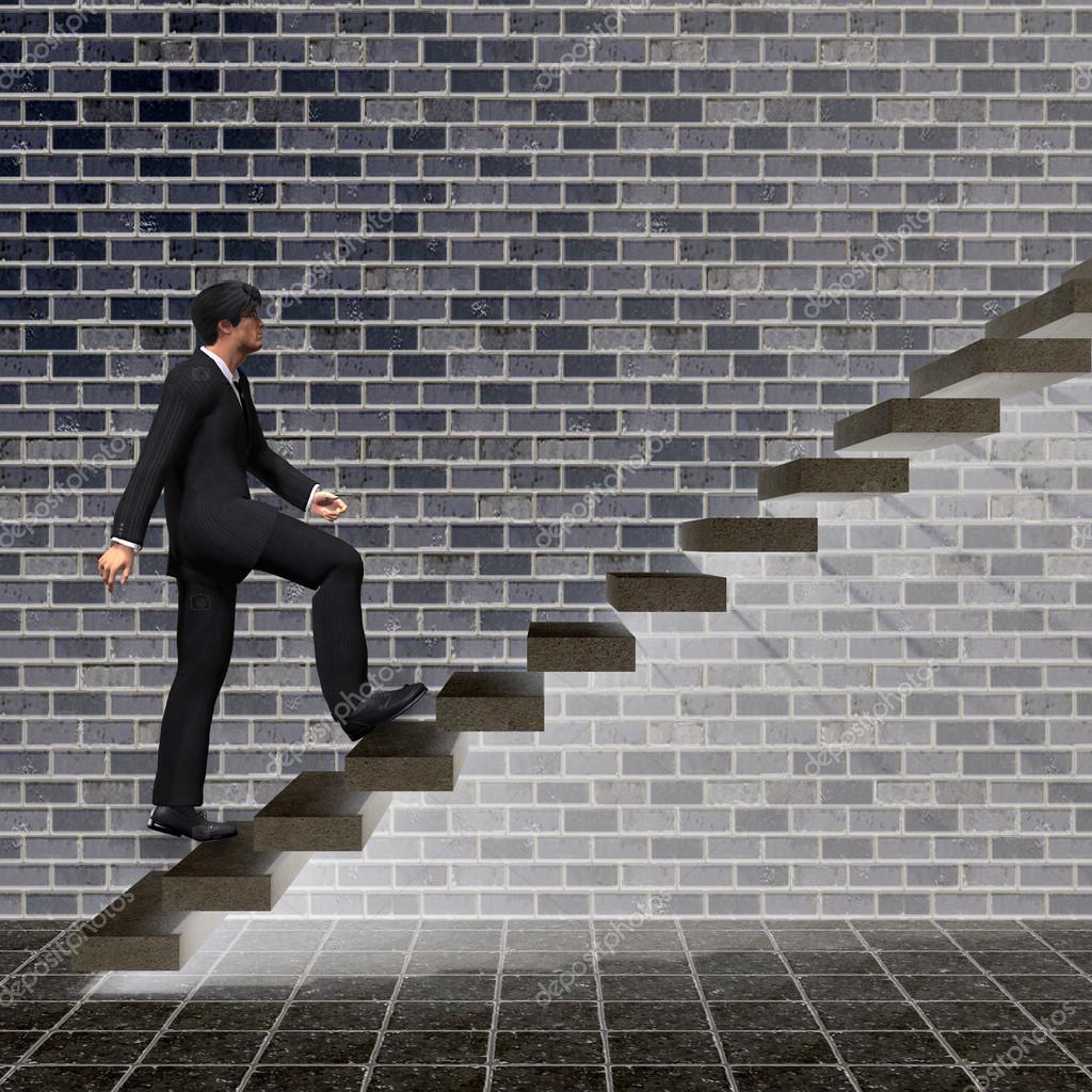 businessman climbing on steps