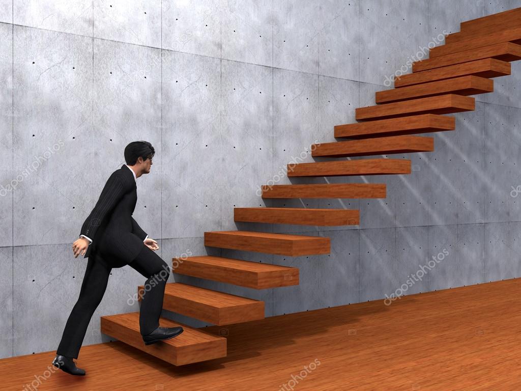 businessman climbing steps stock