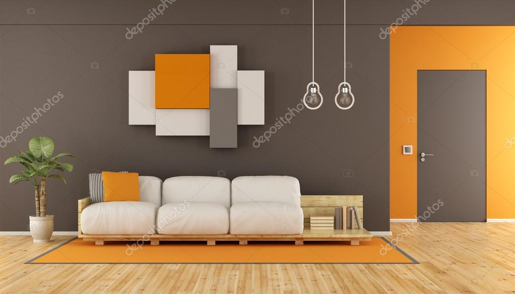 Bruine en oranje moderne woonkamer  Stockfoto