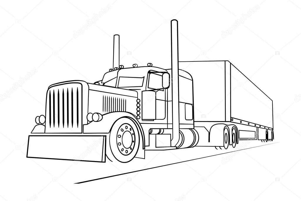 Desenho do caminhão transportando uma carga — Vetor de