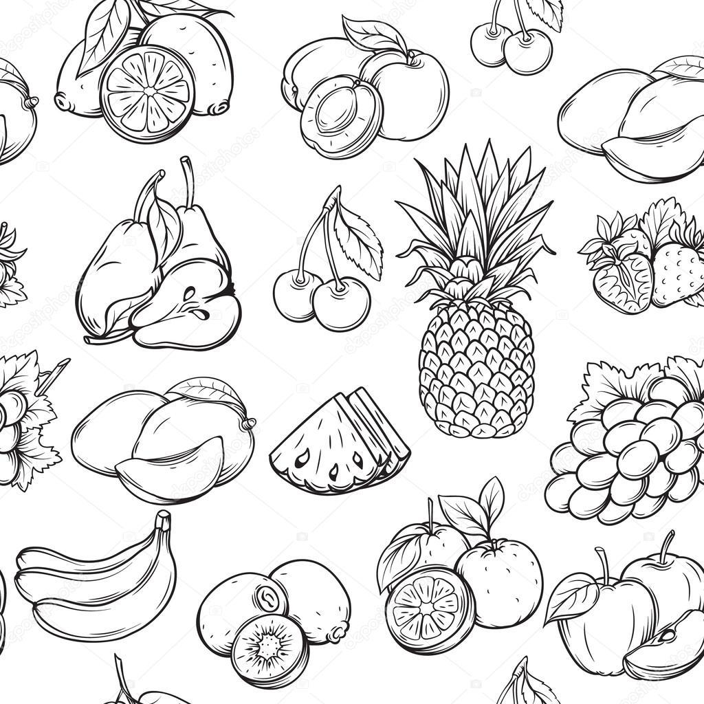 Hand Draw Fruits Pattern