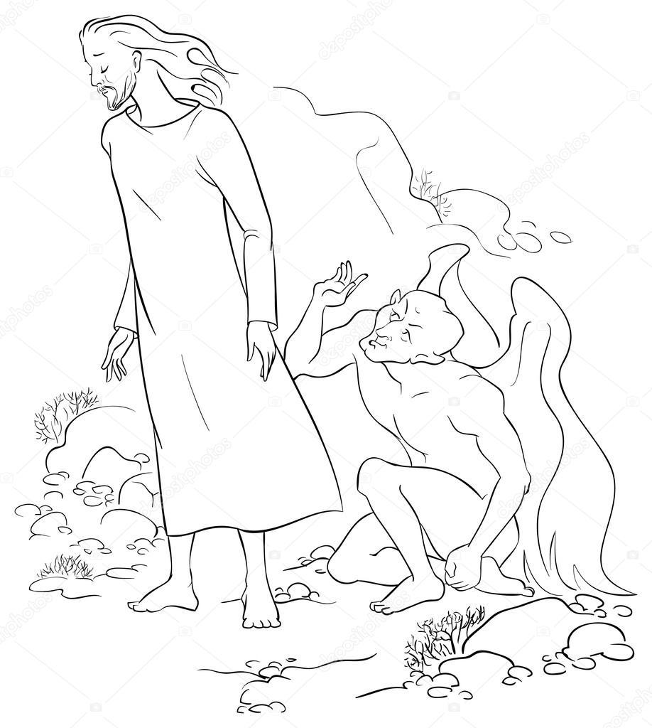 Tentação de jesus Cristo no deserto. coloração página