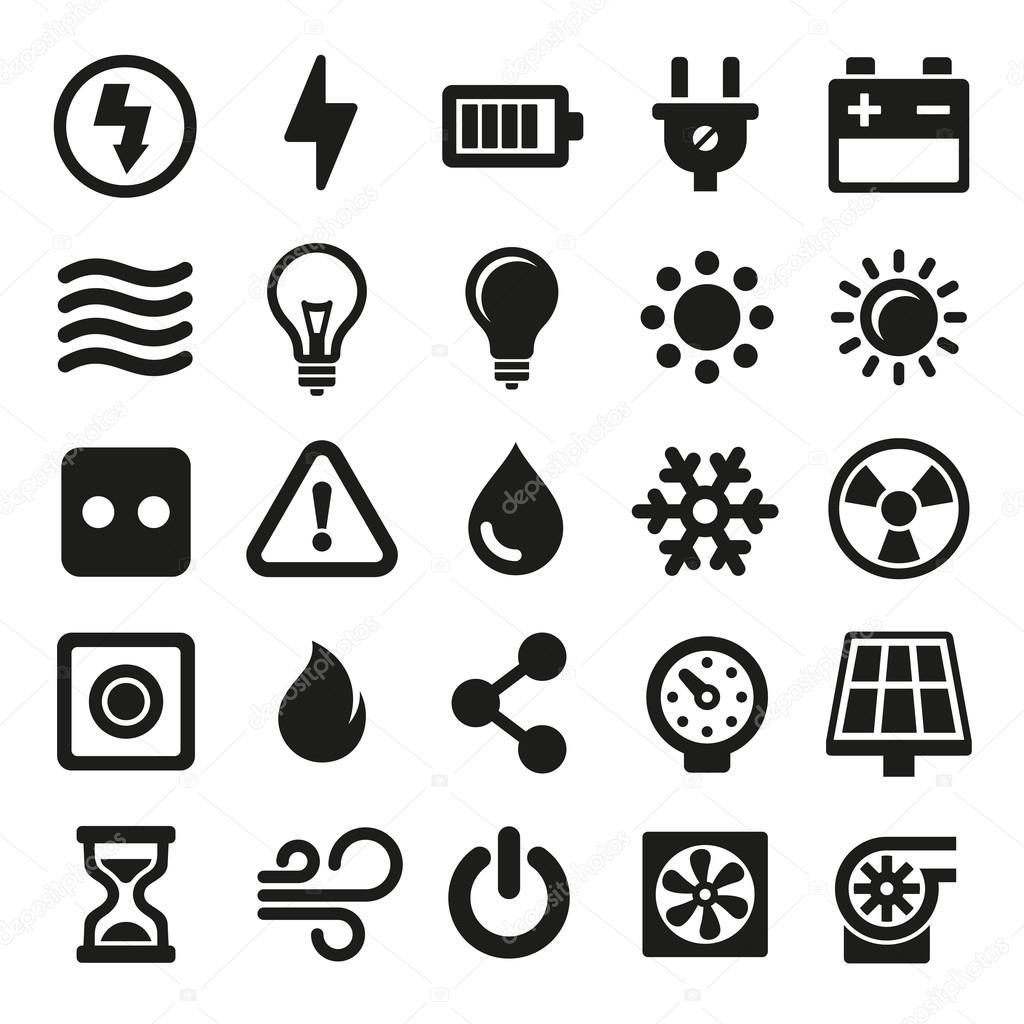 Elektrische Symbole Festgelegt Auf Wei Em Hintergrund