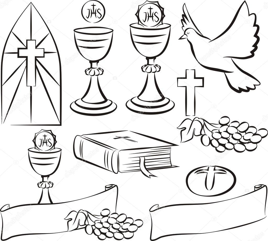 holy communion symbols — Stock Vector © ciuciumama #86810638