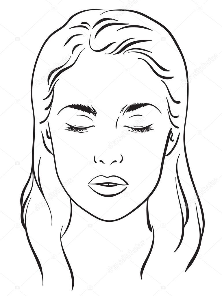 Schöne Frau mit geschlossenen Augen. Gesicht-Diagramm Make