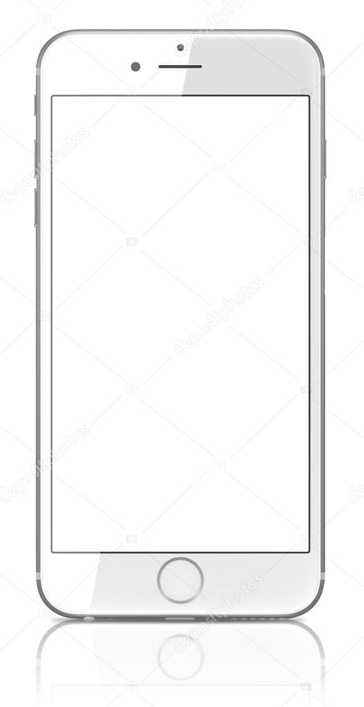 New Silver iPhone 6 Plus showing the home screen with iOS