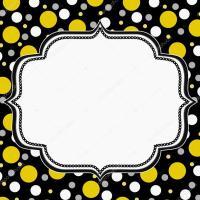 Yellow, White and Black Polka Dot Frame Background  Stock ...