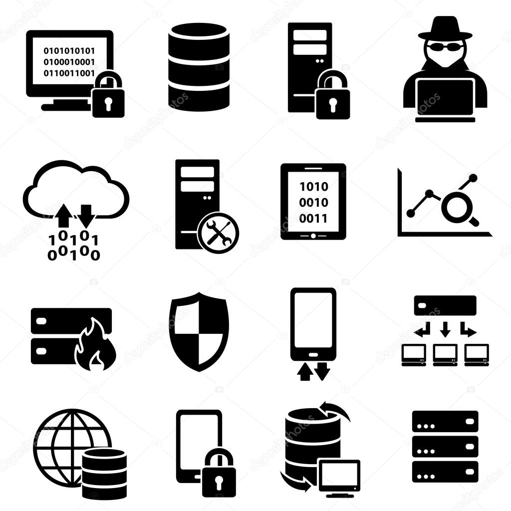Cyber security, virus, and computer security icons — Stock