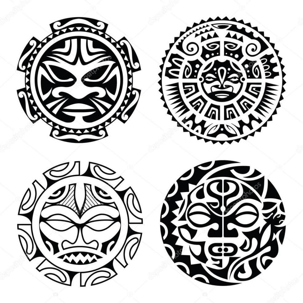 полинезия татуировки полинезийской татуировки набор векторное