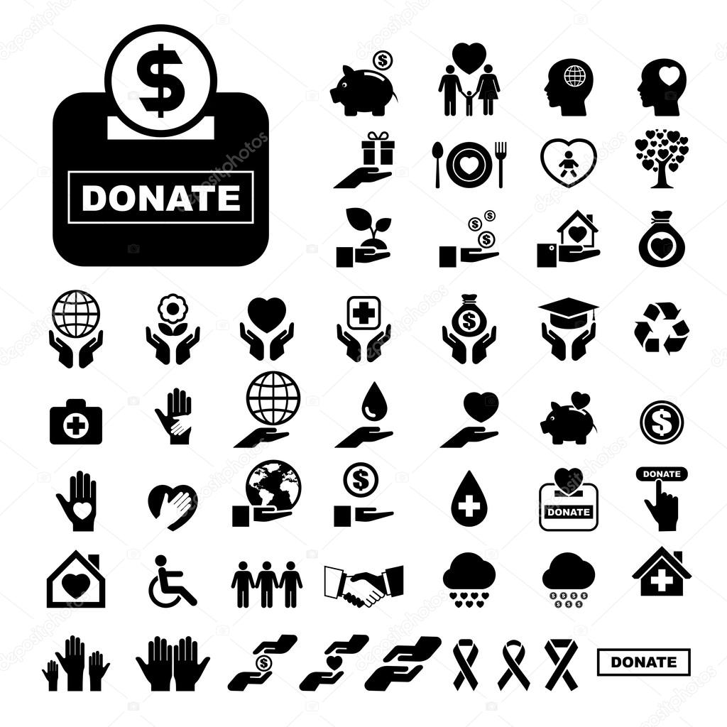 Charity and donation icons set — Stock Vector © kanate