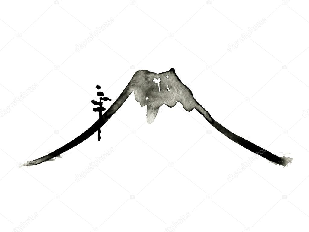 Mountain Fuji Volcano Japanese Art Vector