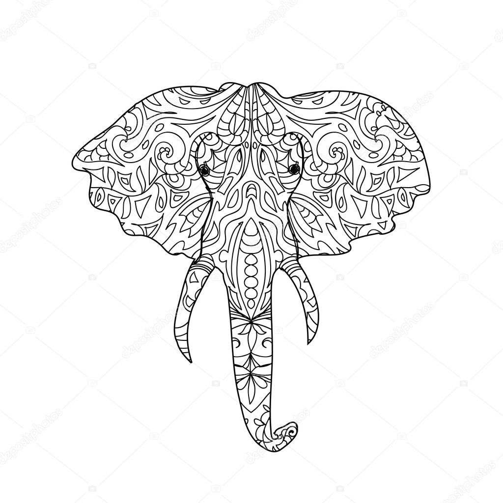 Elephant head zentangle — Stock Photo © Nuarevik #74829699